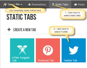add twitter app - woodbox static tabs